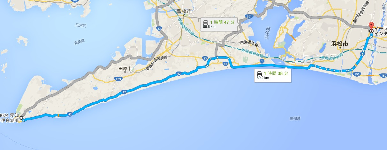 東名高速・浜松ICから「伊良湖」フェリーターミナルまでの所要時間・距離