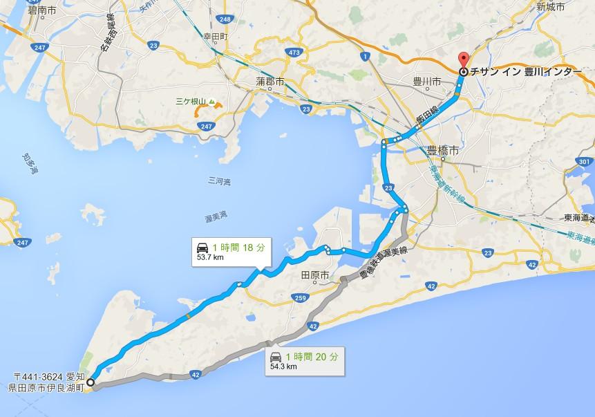 東名高速・豊川ICから「伊良湖」フェリーターミナルまでの所要時間・距離