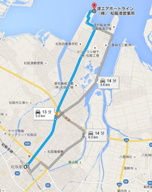 松阪駅まで「タクシー」で移動する方が良い場合もある