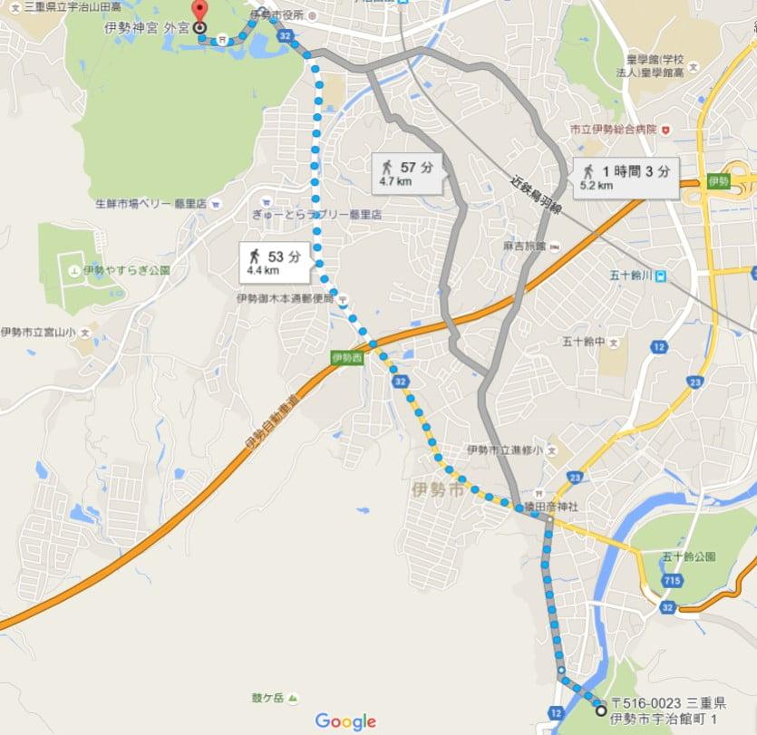 徒歩で外宮から内宮へ歩く場合、基本的に御木本道路(県道32号線)を南へ歩く
