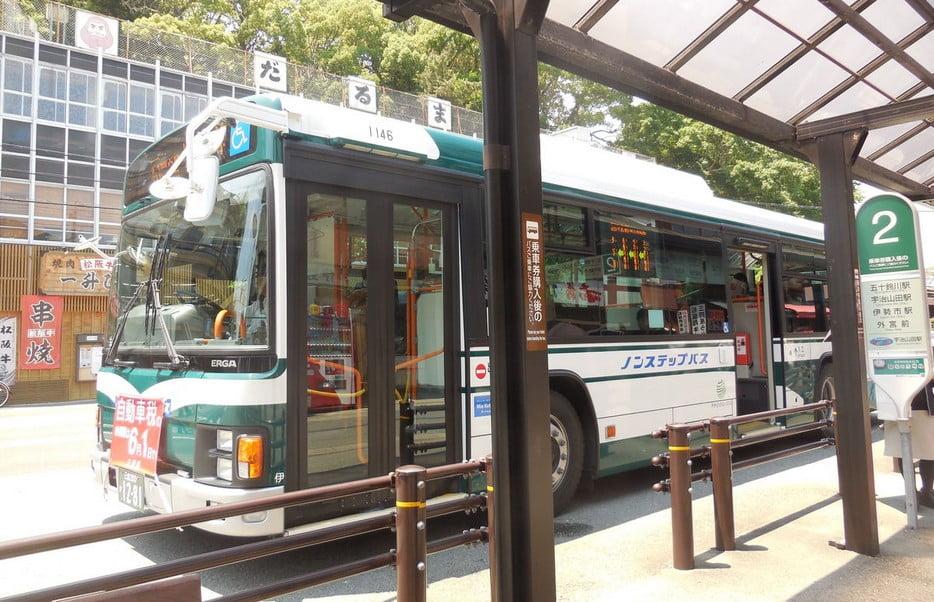 五十鈴川から内宮前までのバスは、1日でかなり多くの本数が運行している