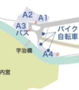 内宮へ向かう国道23号の「宇治浦田交差点」から一般車は新入禁止になり、「内宮A駐車場」は利用できません
