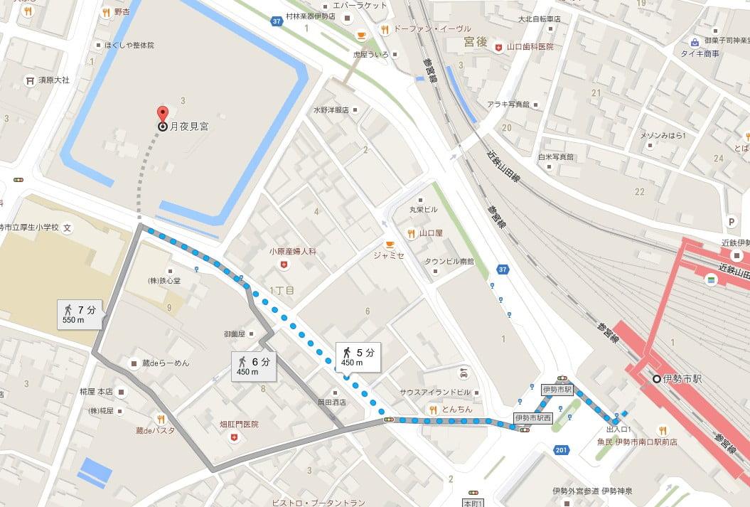伊勢市駅(近鉄JR)から月夜見宮へのアクセス・行き方「徒歩」