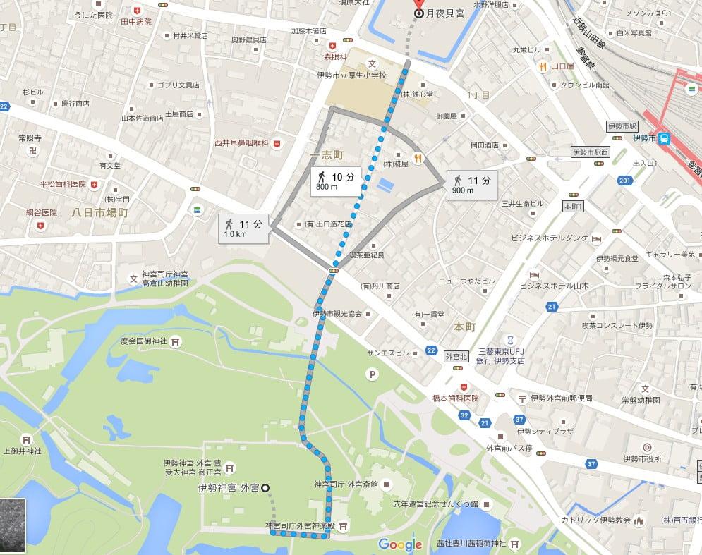 伊勢神宮・外宮から月夜見宮へのアクセス・行き方「徒歩」
