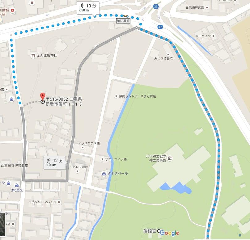倭姫宮から宇治山田陵墓(参考地)までアクセス・行き方「徒歩」