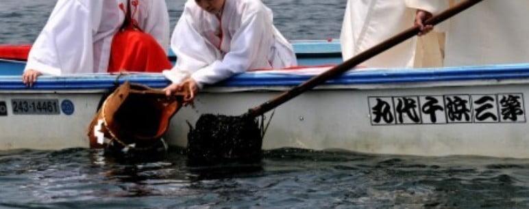 「藻刈神事」は、興玉神石付近に生える霊草の無垢塩草を刈り取る神事で、5月21日に行われます。