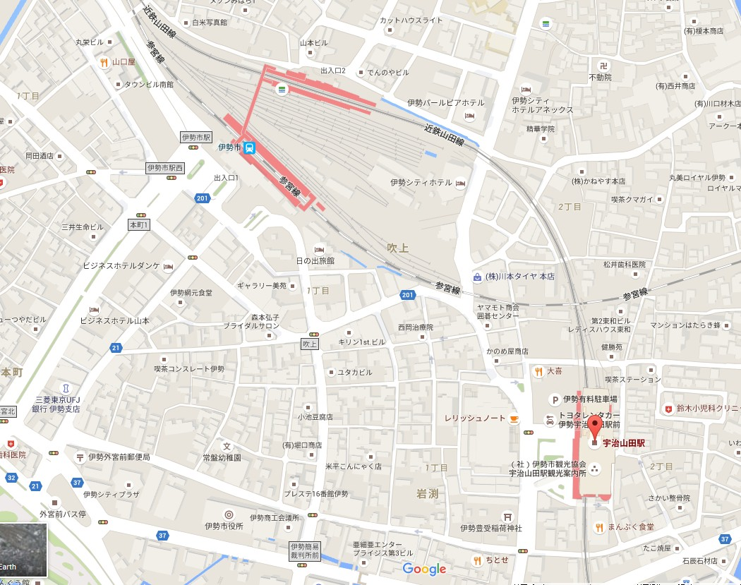 近鉄・宇治山田駅から伊勢市駅(JR・近鉄)へアクセス・行き方【地図つき】