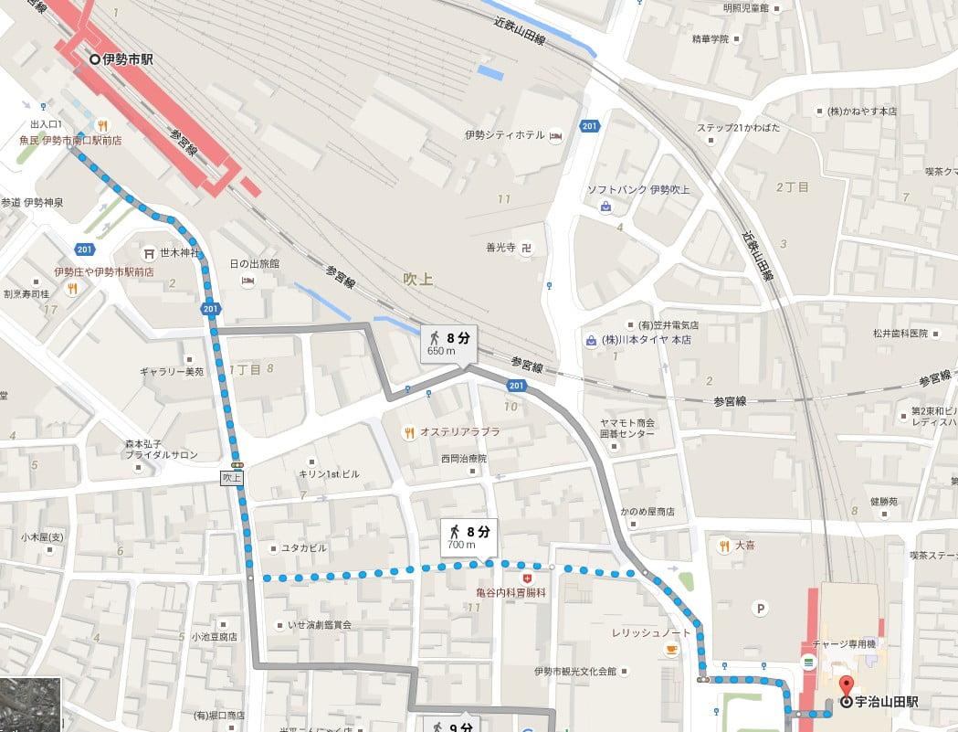 近鉄・宇治山田駅から「(JR・近鉄)伊勢市駅」までの所要時間(徒歩)