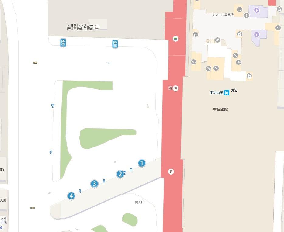 近鉄・宇治山田駅のバスロータリーの【バスのりば地図】
