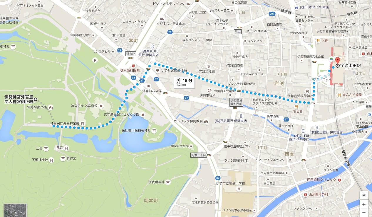 宇治山田駅から伊勢神宮・外宮まで、徒歩でのアクセス・行き方