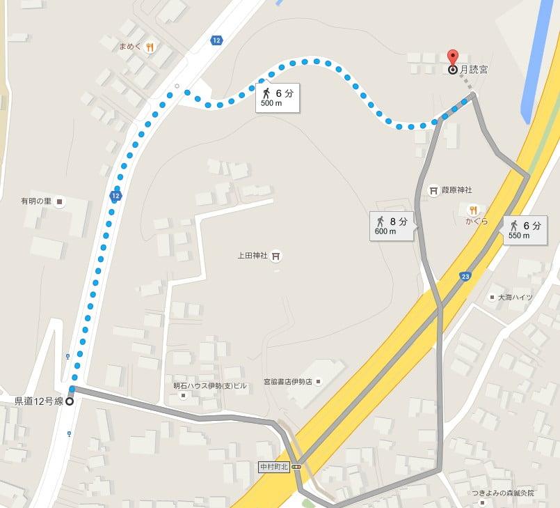三重交通バス「中村バス停」から伊勢神宮・内宮(別宮)「月読宮」へのアクセス・行き方