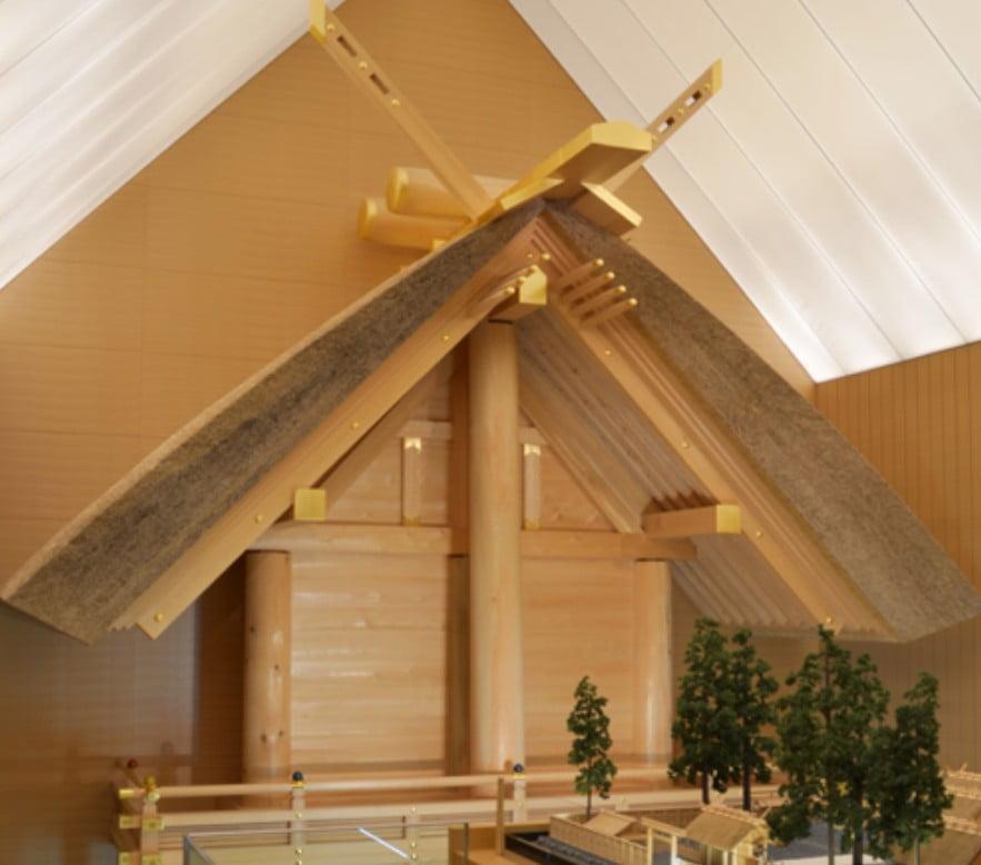 外宮のご正殿の東側部を、実物と同じ大きさで作った模型