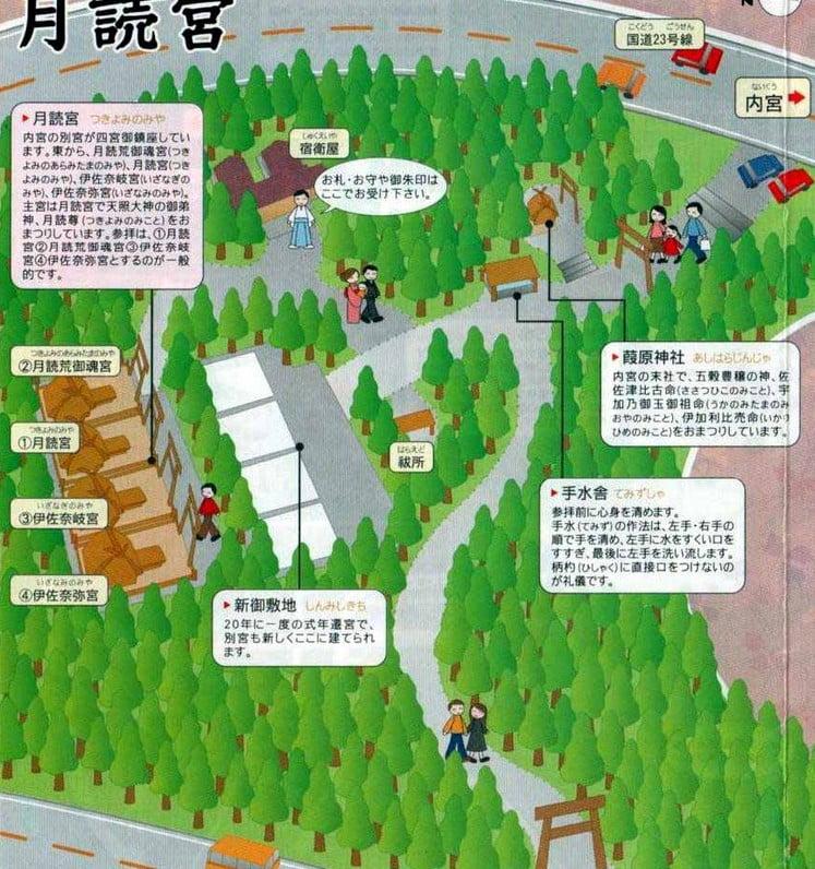 月読宮の境内(宮域)の案内配置地図