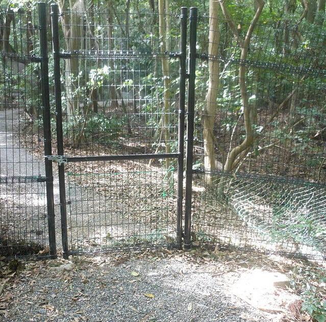 上御井神社へ通じる参道は鉄柵で遮られており、それ以上、通行ができません